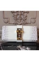 Knockoff Hermes Medor Clutch Bag In White Crocodile Leather HJ00596