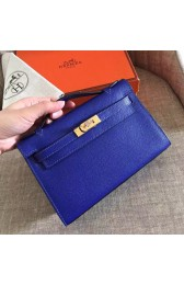Knockoff High Quality Hermes Electric Blue Epsom Kelly Pochette Handmade Bag Replica HJ01113