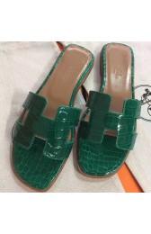 Knockoff Luxury Knockoff Hermes Green Crocodile Oran Sandals HJ00763