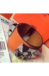 Knockoff Wholesale Hermes Orange Epsom Collier De Chien Bracelet Size S HJ01325