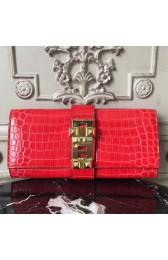 Luxury Copy Hermes Medor Clutch Bag In Cherry Crocodile Leather HJ01100