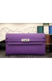 Luxury Fake Hermes Kelly Longue Wallet In Purple Epsom Leather HJ00964