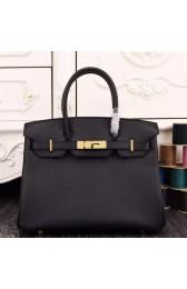 Luxury Faux Hermes Birkin 30cm 35cm Bag In Black Epsom Leather HJ00770