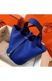 Luxury Faux Hermes Blue Electric Picotin Lock MM 22cm Handmade Bag HJ00428