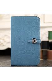 Luxury Hermes Dogon Combine Wallet In Jean Blue Leather HJ00430