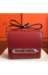 Luxury Hermes Mini Sac Roulis Bag In Red Swift Leather HJ01068