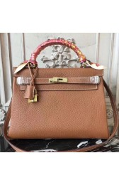 Luxury Knockoff Hot Hermes Brown Clemence Kelly 28cm Bag HJ00775