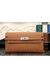 Luxury Replica Hermes Kelly Longue Wallet In Brown Epsom Leather HJ00824