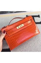 New Hermes Orange Kelly Pochette Shiny Niloticus Crocodile Bag HJ01059