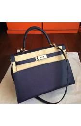 Replica AAA Knockoff Hermes Sapphire Epsom Kelly 32cm Sellier Handmade Bag HJ00513