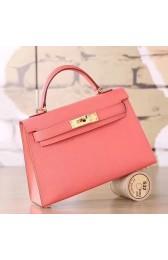 Replica Cheap Perfect Replica Hermes Flamingo Epsom Kelly Mini II 20cm Handmade Bag HJ00317