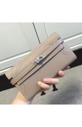Replica Copy Hermes Kelly Ghillies Wallet In Grey Swift Leather HJ01336