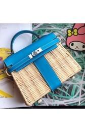 Replica Fashion Hermes Blue Picnic Kelly Mini 20cm Wicker Bag HJ00472