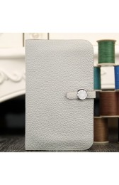 Replica Faux Hermes Dogon Combine Wallet In White Leather HJ00818
