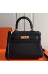 Replica Hermes Black Clemence Kelly 20cm GHW Bag HJ01191