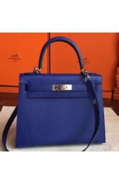 Replica Hermes Blue Electric Epsom Kelly Sellier 28cm Handmade Bag Replica HJ00380