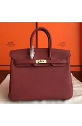 Replica Hermes Bordeaux Clemence Birkin 25cm Handmade Bag HJ00260