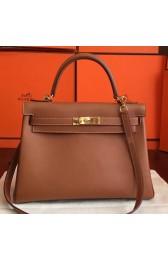 Replica Hermes Brown Swift Kelly Retourne 32cm Handmade Bag HJ00330