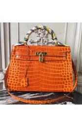 Replica Hermes Kelly 32cm Bag In Orange Crocodile Leather Replica HJ01079