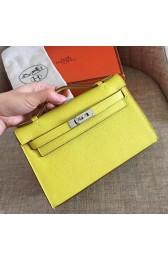 Replica Hermes Soufre Epsom Kelly Pochette Handmade Bag Replica HJ01175
