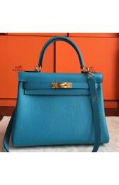 Replica Hermes Turquoise Clemence Kelly Retourne 28cm Handmade Bag Replica HJ00348