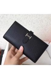 Replica High End Imitation Hermes Black Epsom Bearn Gusset Wallet HJ00794