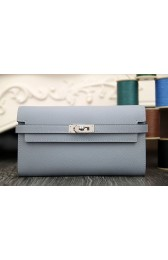 Replica High Quality Hermes Kelly Longue Wallet In Blue Lin Epsom Leather HJ01115