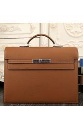 Replica Knockoff Hermes Brown Kelly Depeche 38cm Briefcase Bag HJ01181
