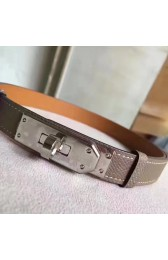 Replica Luxury Hermes Etoupe Epsom Kelly Belt With Palladium Hardware HJ00886