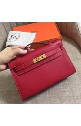 Replica Perfect Hermes Rouge Vif Epsom Kelly Pochette Handmade Bag HJ00070