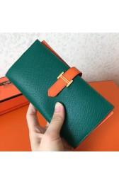 Replica Replica Hermes Bi-Color Epsom Bearn Wallet Malachite/Orange HJ01202