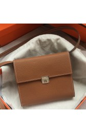 Replica Replica Perfect Hermes Brown Clic 16 Wallet With Strap HJ00873