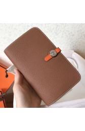 Replica Top Faux Hermes Bicolor Dogon Duo Wallet In Brown/Orange Leather HJ00969