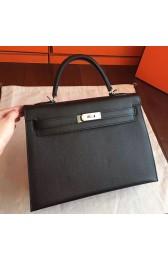 Top Hermes Black Epsom Kelly 32cm Sellier Handmade Bag HJ00013
