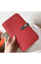 Top Quality Hermes Bicolor Dogon Duo Wallet In Red/Jean Leather HJ01034