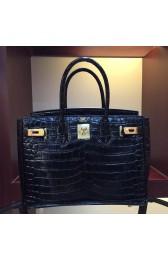 Top Quality Hermes Birkin 30cm 35cm Bag In Black Crocodile Leather HJ00741