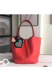 Wholesale Hermes Red Picotin Lock 22cm Braided Handles Bag HJ01032