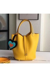 Wholesale Hermes Yellow Picotin Lock 18cm Bag With Braided Handles HJ01027